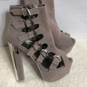 Shoes - Faux Velvet Heels